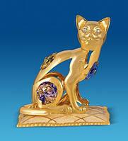 """Позолоченная фигурка """"Кошка на подушке"""" с цветными кристаллами Сваровски"""