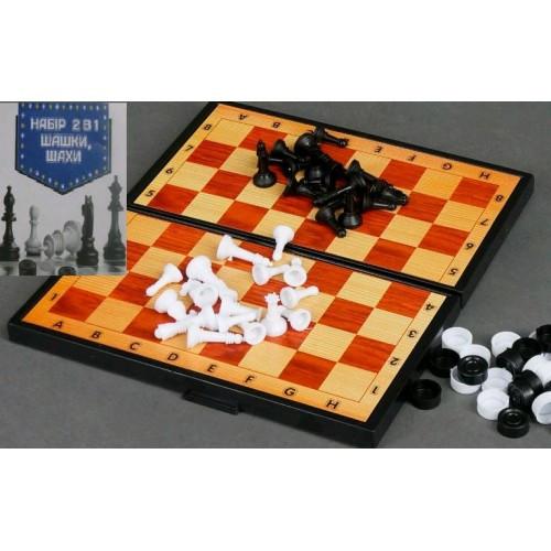 Шахматы 2 в 1 (шашки + шахматы) Maximus (арт.5197) 16 * 25 * 3см