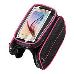 Сумка-штаны велосипедная под смартфон на раму BAO-003PINK