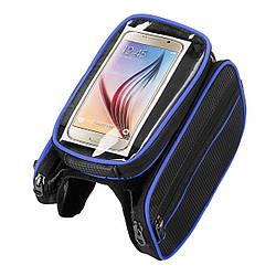 Сумка-штаны велосипедная под смартфон на раму BAO-003BLUE