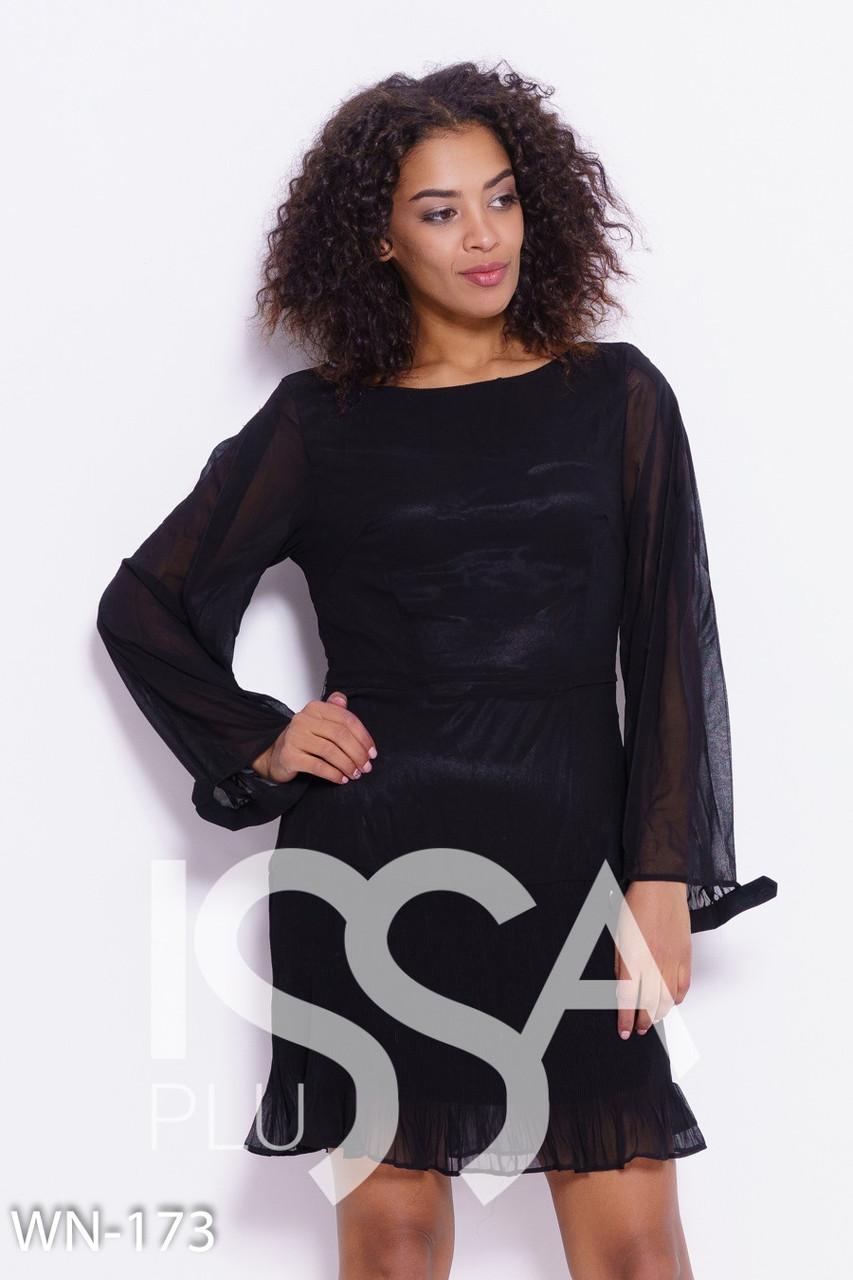 731f554d066 Черное шифоновое платье с плиссировкой