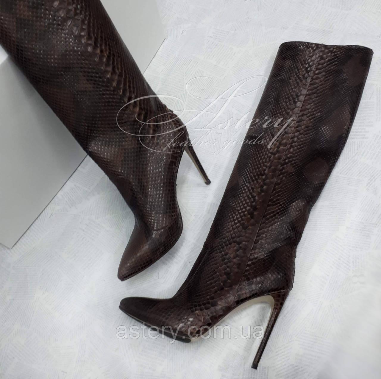 Жіночі коричневі чоботи з пітона на шпильці