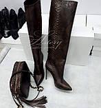 Жіночі коричневі чоботи з пітона на шпильці, фото 2