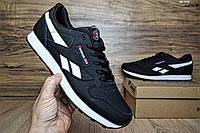 Мужские кроссовки большого размера Reebok Classic кожаные черные с белым (ТОП реплика), фото 1