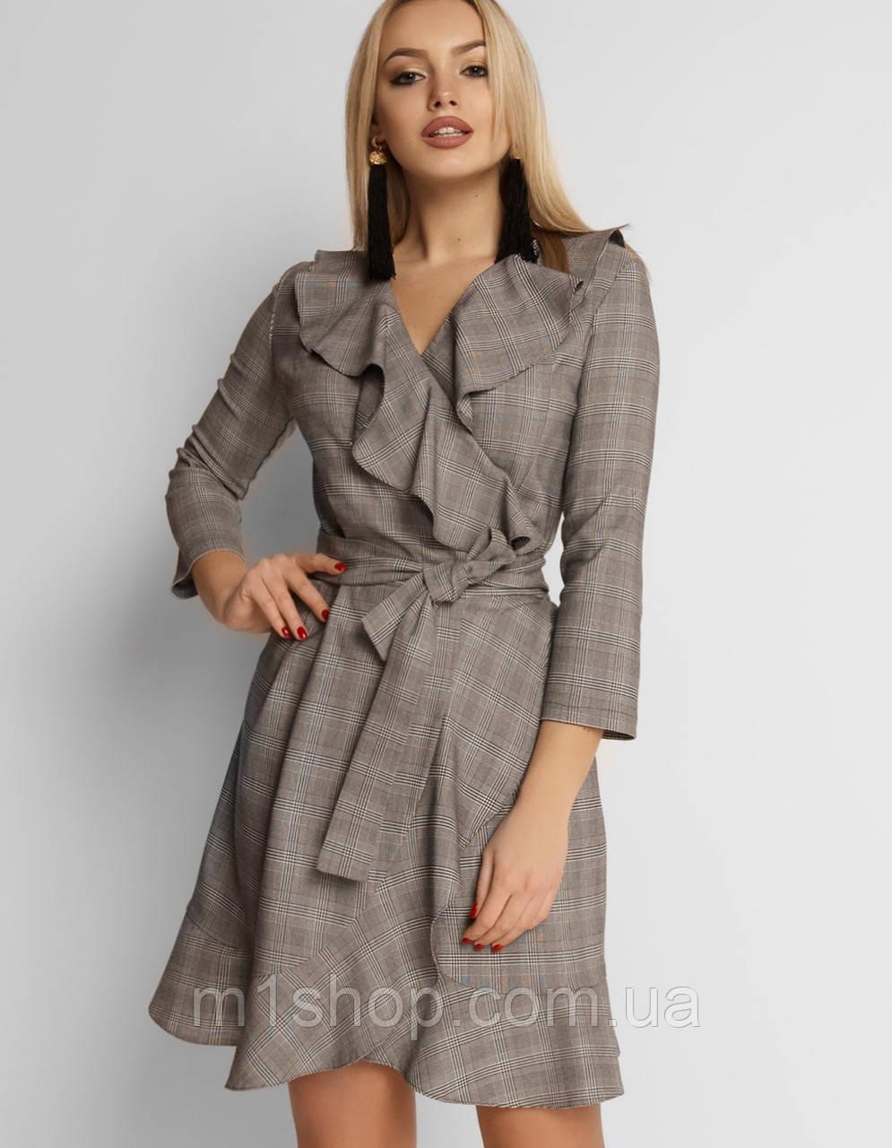 Женское клечатое платье с воланом (Лейлаjd)