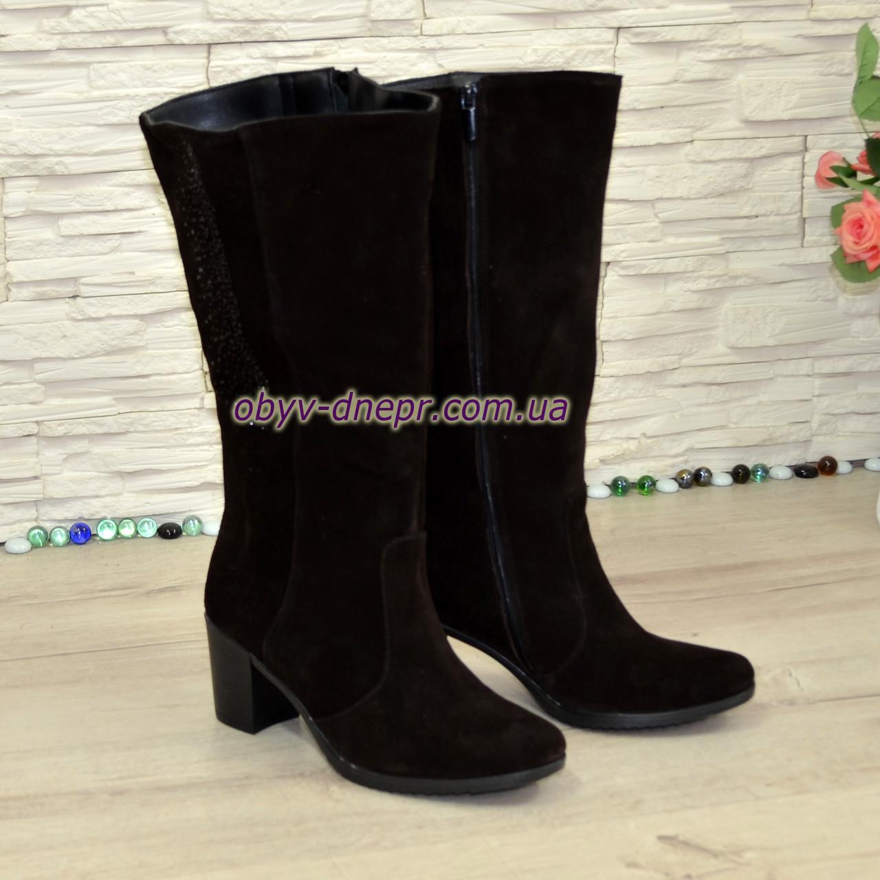 998de2ec4 Сапоги женские зимние замшевые на устойчивом каблуке, цвет коричневый