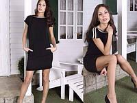 Платье черное с кармашками