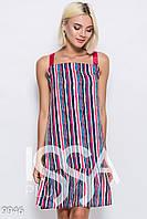 0e3c598e9f6 Цветное полосатое короткое платье-сарафан из софта в полоску с воланом по  низу и шлейками