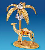 """Позолоченная фигурка """"Верблюд с пальмой"""" с цветными кристаллами Сваровски"""