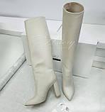 Женские белые кожаные сапоги на толстом каблуке, фото 2