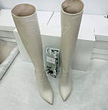 Женские белые кожаные сапоги на толстом каблуке, фото 4