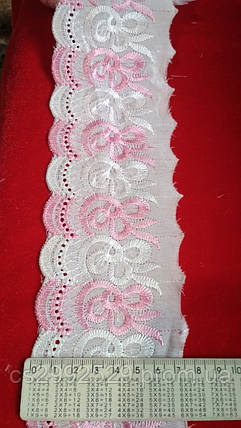 Батист прошва вышитая 9 метров.Вышивка батист белая+розовый., фото 2