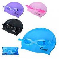 Набор для плавания D25637 шапочка-22-19см очки-регул.ремешок 4цвета в шарик 21-10-4см