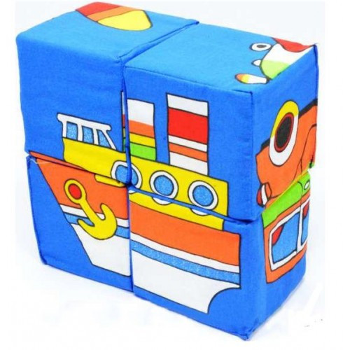 Кубики ткань 4 в 1 Собери картинку Техника ТМ Умная игрушка