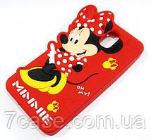 Чехол детский для HTC Desire 526 силиконовый объемный игрушка Минни Маус красный