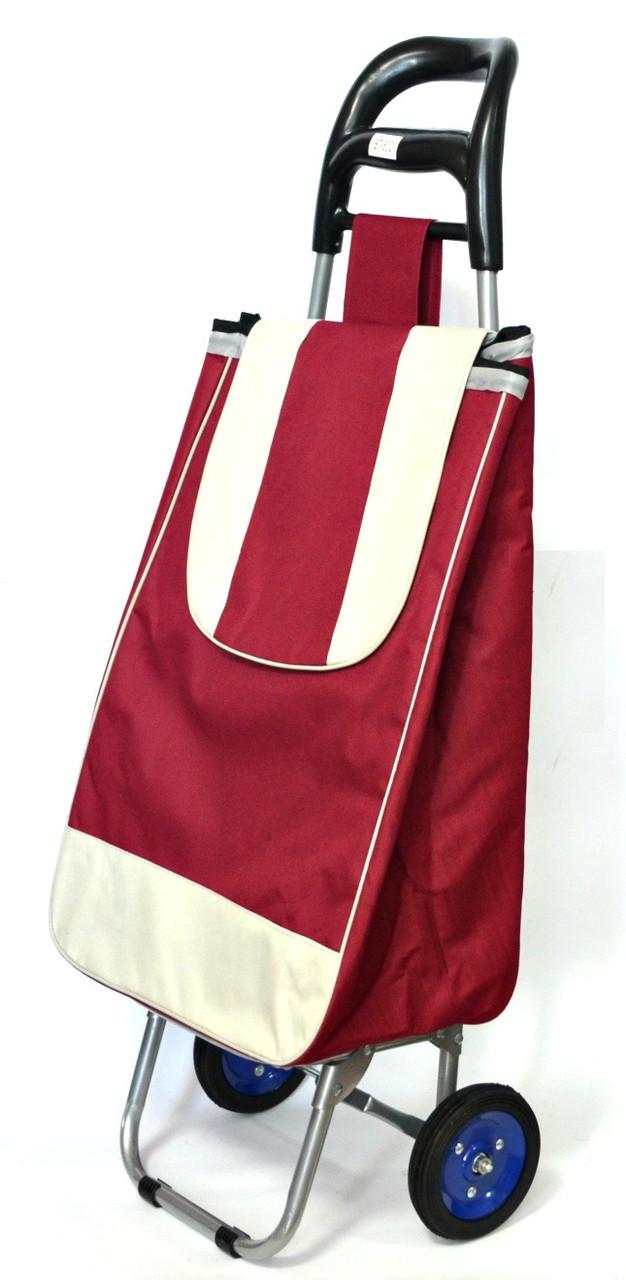 Хозяйственная сумка тележка Xiamen с колесами на подшипниках Burgundy with gray (0052)