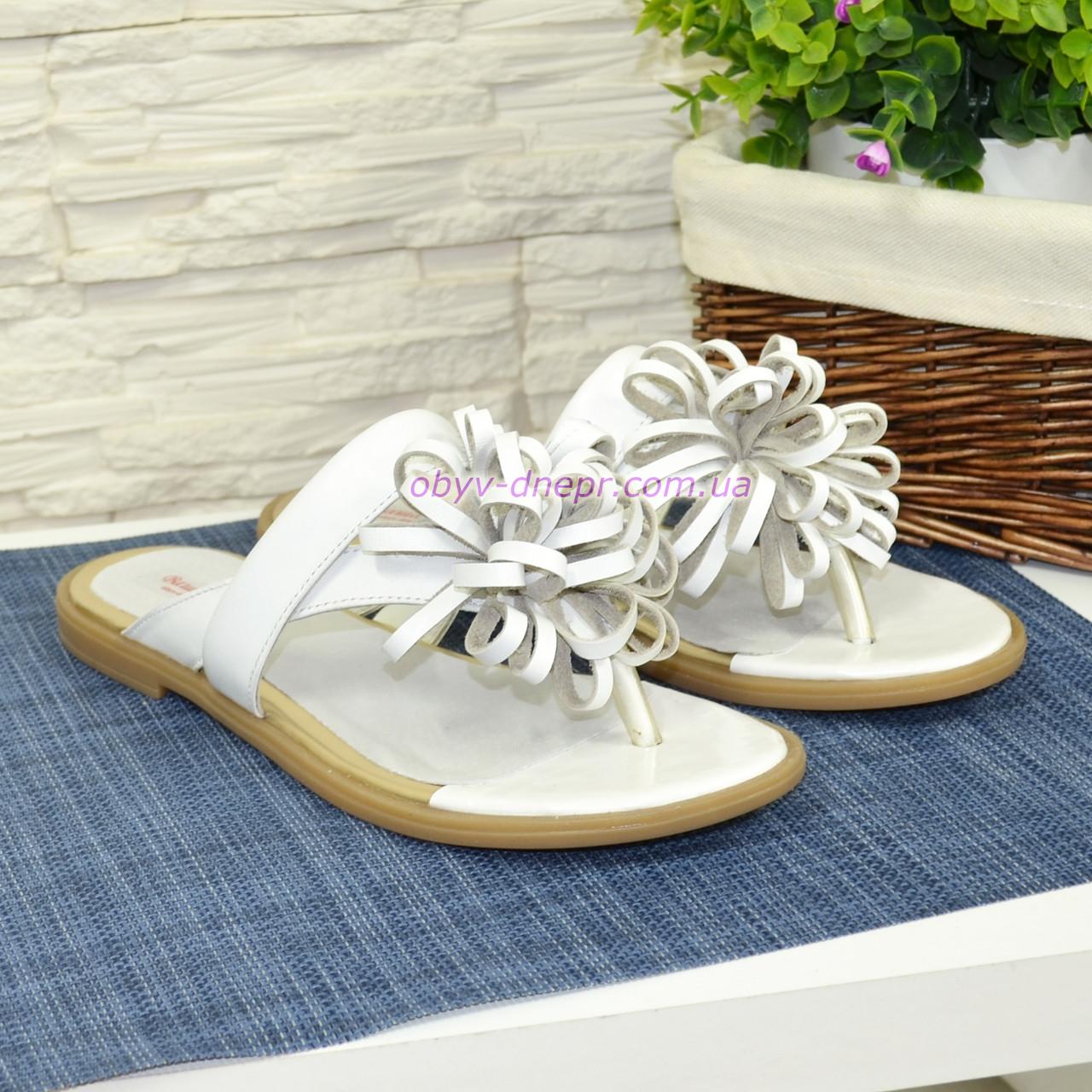 Женские белые кожаные шлепанцы-вьетнамки от производителя
