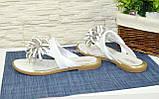 Женские белые кожаные шлепанцы-вьетнамки от производителя, фото 4