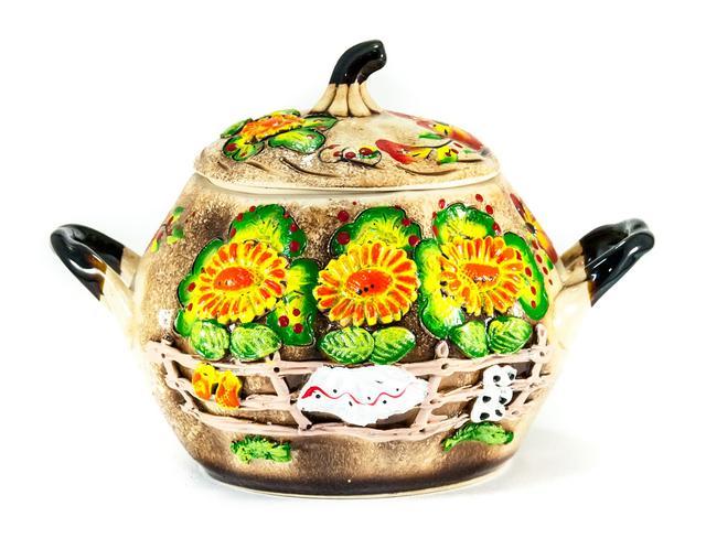 Керамическая сувенирная посуда цветная (лепка)