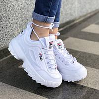 Женские кожаные кроссовки в стиле Fila Disruptor 2 White
