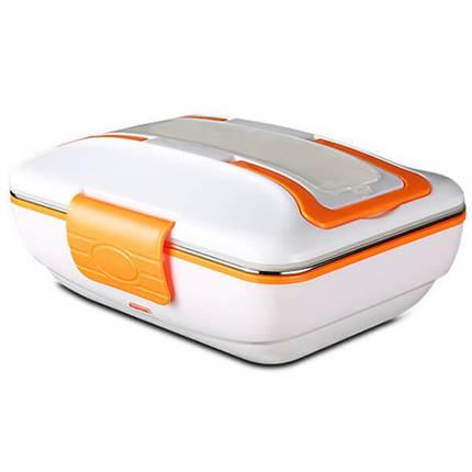 Електричний ланч бокс з підігрівом від мережі 220В Electric Lunch Box з металевої знімною чашею Помаранчевий, фото 2