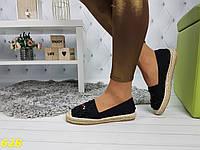 Еспадрільї чорні джинсові з принтом, фото 1
