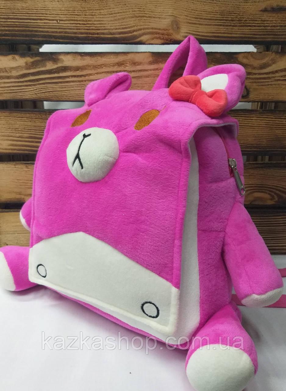 """Детский плюшевый рюкзак розового цвета """"Котик"""", регулируемые лямки"""