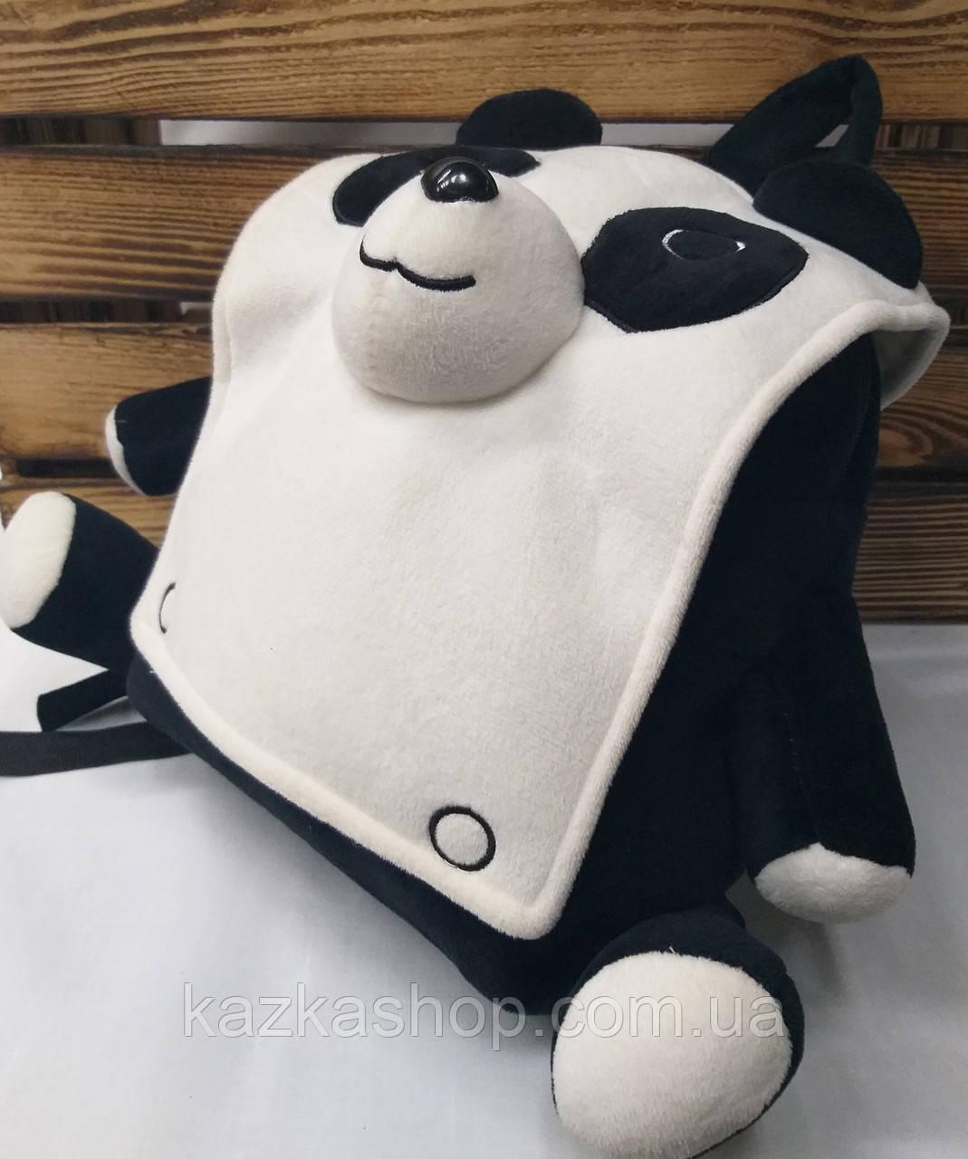 """Детский плюшевый рюкзак черного цвета """"Панда"""", регулируемые лямки"""