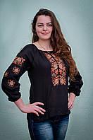 Женская вышиванка черная | Жіноча вишиванка чорна, фото 1