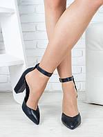 Туфли женские черные с ремешком натуральная кожа