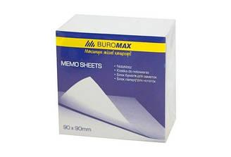 Блок белой бумаги для заметок JOBMAX 90х90х30мм., склеенный