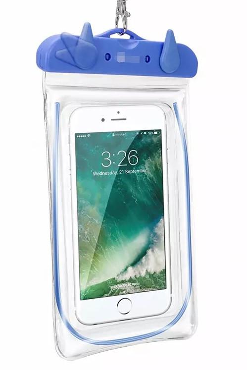 Чохол водонепроникний для мобільних телефонів SUNROZ з люмінесцентним елементом Блакитний (SUN3477)