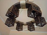 Люстра круг потолочная деревянная с лляным канатом на 6 плафонов