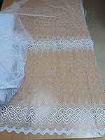 Фатіновий тюль з вишивкою білого кольору висота 1.8м.