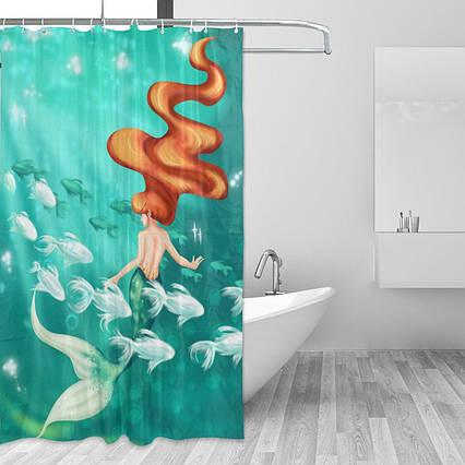 Шторка для ванни і душа Alaza 180х150 металеві люверси бірюзова, фото 2