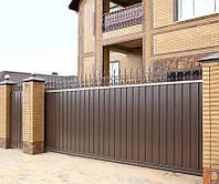 Уличные ворота с заполнением профлистом