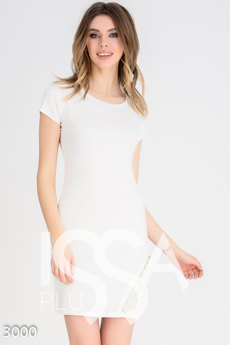 8ff7bdc0e3f Молочное Платье-футболка со Шнуровкой в Тон на Бедре — в Категории ...