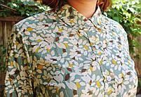 "Бавовняна сорочка з дуже гарним принтом ""Листочки"" блакитна, фото 2"