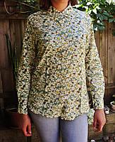 "Бавовняна сорочка з дуже гарним принтом ""Листочки"" блакитна, фото 3"