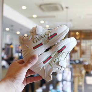Дитячі шкіряні кросівки білі, фото 2