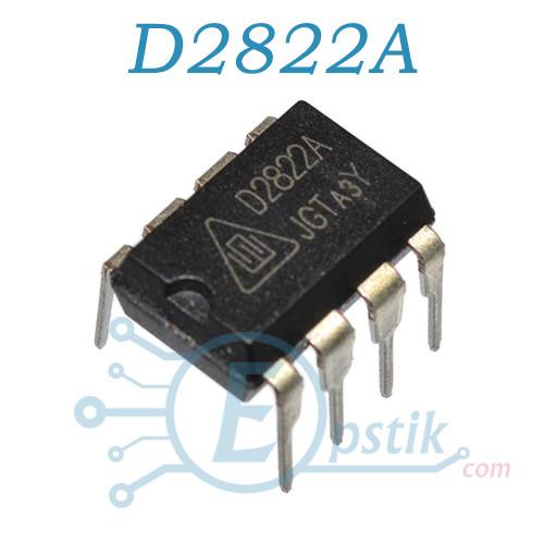 D2822A, низковольтный, 2-х канальный аудио усилитель, DIP8