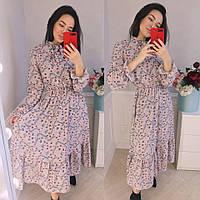 Платье женское длинное с цветочным принтом