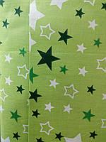 Бязь постельная зелёные звёзды х/б (220) Турция, фото 1