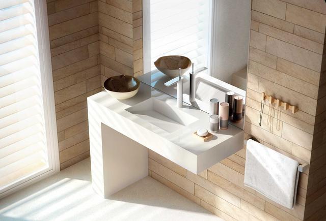 Столешница в ванную Искусственный камень - кварц Silestone Classic White - Photo