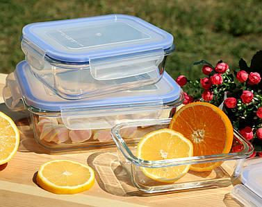 Набор стеклянных прямоугольных контейнеров 3 в 1, Бельгия, прямоугольные стеклянные контейнеры набор 3 шт