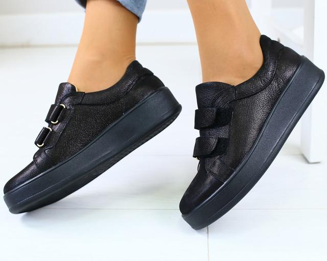 4aee0b8a1 Модные женские кожаные кроссовки кеды на платформе на липучках черные бренд