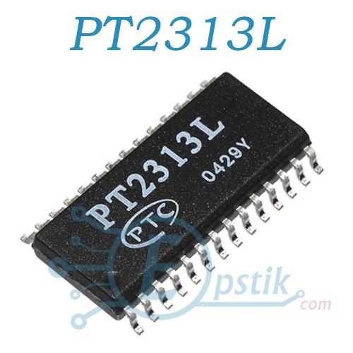 PT2313L, аудио усилитель 4-х канальный с регулятором громкости, SO28 (300mil)