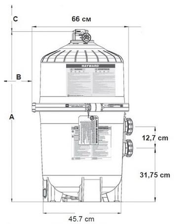Габаритные размеры диатомитовых фильтров Hayward ProGrid