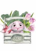 """Открытка """"Пасхальный кролик розовый"""", фото 1"""
