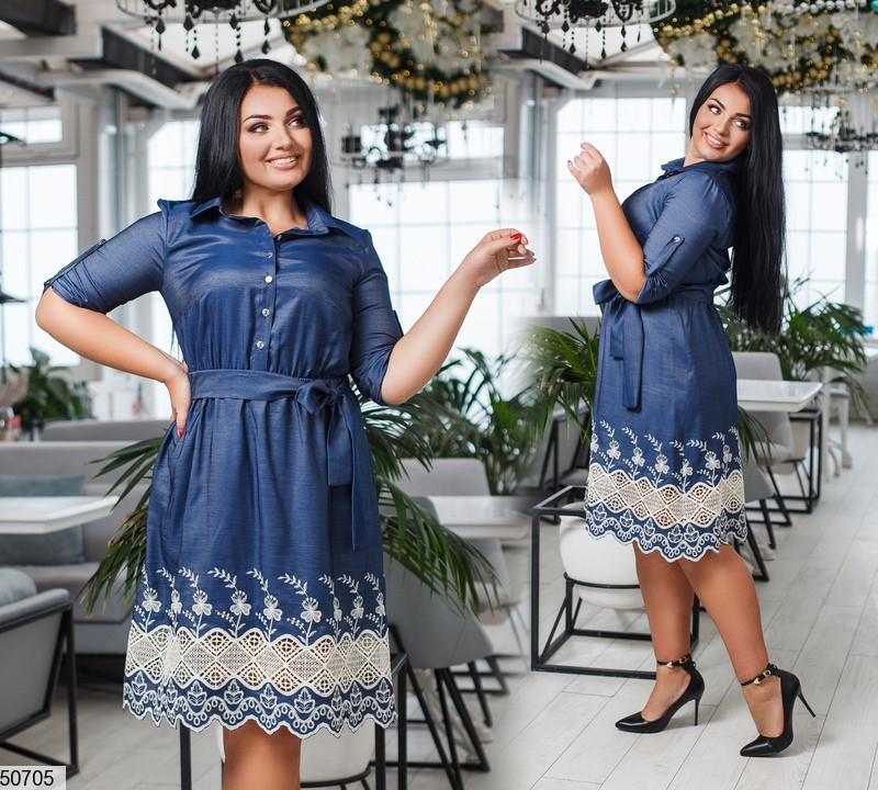 74d0bce5a35 Купить Джинсовое платье рубашка с кружевом - 903491612